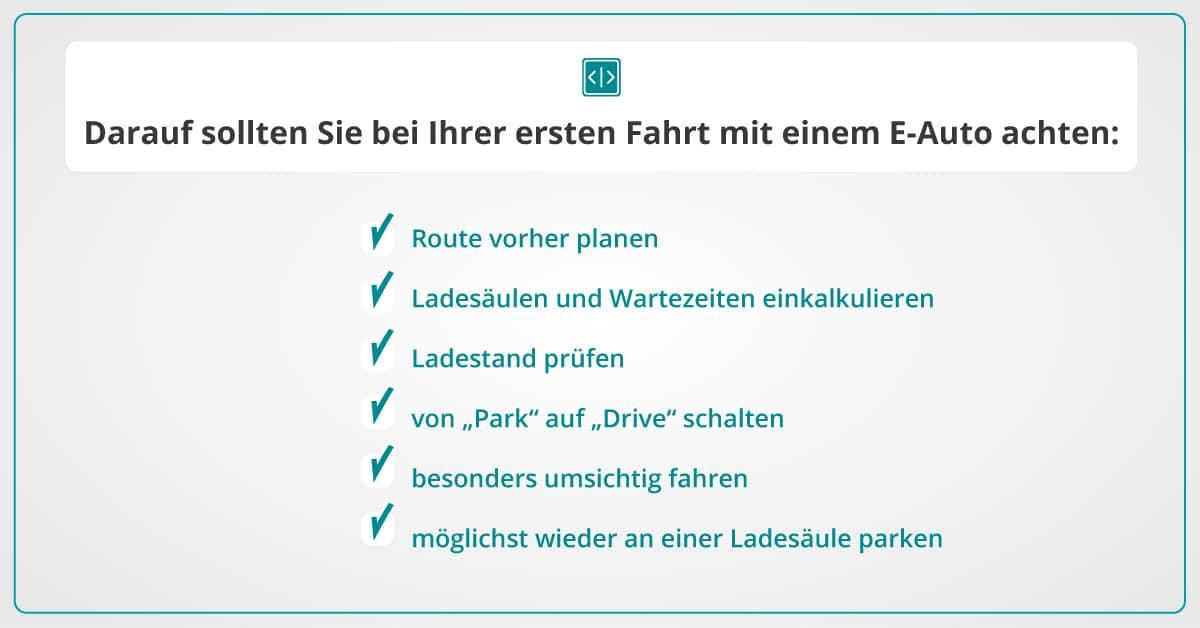 Bedienung Elektroauto Checkliste